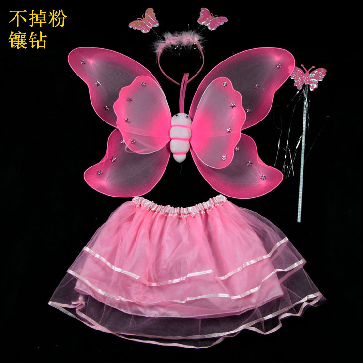 Double layer feather butterfly wings set piece dance costume(China (Mainland))