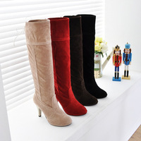 Fashion Women's Faux Suede Mid Calf Knee High Long Boots Platform High Heel Shoes Free Shipping
