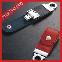 Free Shipping 4GB 8GB 16GB 32GB usb leather drive PC accessories Novelty , Disk Stick Key Chain Swivel