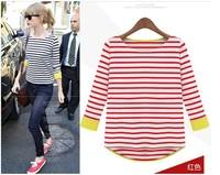 2013 NEW ARRIVAL S / M / L / XL Striped  fit  tee shirt  BLUE RED BLACK
