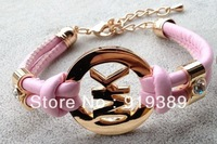 Free Shipping!! Bracelet PU Leather Punk Retro Candy Colors Bangle Bracelets (9pcs/lot)