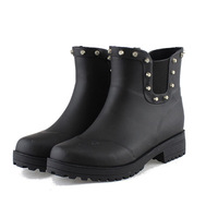 2013 New style Spring fashion black low classic women's big size rain boots cool rivet water shoes R03065