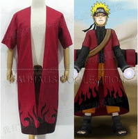 Cosplay Costume Naruto Uzumaki Sage  Red Cloak Dust coat  Anime Cosplay Costume