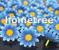 "Wholesale 100pcs Blue 3.5cm / 1.4"" craft silk flowers heads daisy flower wedding birthday party decorations free shipping"