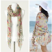 2013 design summer butterfly long scarf crapemyrtle flower pattern beach sunscreen scarf shawl for women beach wear wholesale