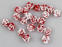 Excellent Quality Red Color 200pcs/lot Soft Plastic Rose Flowers 3D Nail Sticker Nail Decoration Acrylic Tips Beauty Salon 541