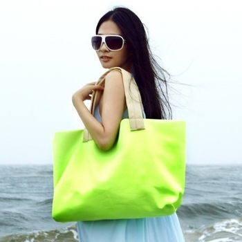 Free shipping 2013 new Neon beach tote shoulder bag fashion lady casual bags hot sell fluorescent color canvas handbag bolsa