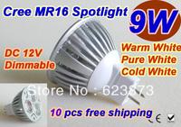 New arrive high power super energy-saving CREE MR16 9W 3*3W  12V Led Light Lamp Led Spotlight Dwonlight bulb 10PCS