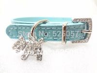 Pet Dog Cat Collar Rhinestone Buckle Collars With Pendants Charm  Croc Pu Leather Size S / M / L Free Shipping
