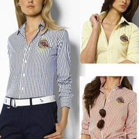 Free Shipping Polo shirt pure striped shirt slim shirt shirt shirt female S M L XL POLO