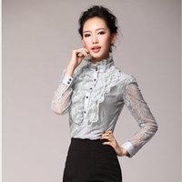 2014 spring basic turtleneck lace long-sleeve shirt plus size ruffle top chiffon shirt female