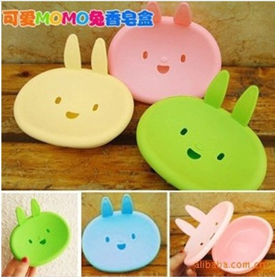 Hot sale Cute plastic rabbit bathroom soap box bath soap holder Soap Dish 200pcs/lot free DHL shipping(China (Mainland))