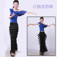Light 10 Latin dance pants tassel pants dance pants big horn pants