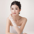 lace rhinestone beading gauze bride wedding dress single long gloves