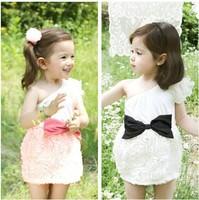 2013 hot sale baby rose dresses for girls sundress with big bow kids lace dresses child Mini TuTu dresses 5 PCS wholesale