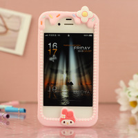 Cartoon  for apple   4 4s phone case iphone4 4s silica gel mobile phone case protective case set