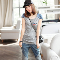 Free shipping top and pants women summer Leisure suits denim patchwork short-sleeve slim capris casual plus size sports set