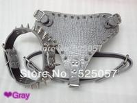 Spikes Studded Leather Dog Harness & Collar Set Pitbull bully Husky Boxer pet collar