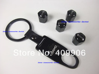 New Top Quality Tire Valves Caps With Car Logo + Key Chain For Mercedes Benz AMG