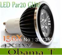 Freeshipping 150XDimmable Gu10 MR16 E27 B22  Par20 4X3W 12W AC85-265V High Power Led Light Bulbs LED Lamp Spotlight Good quality