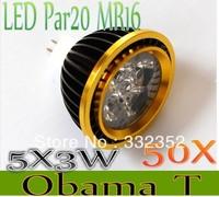 High Power 50XPar20 Led Lamp MR16 E14 GU10 E27 Dimmable 5X3W 15W  4x3W 12W Spotlight Led Light Led Bulbs 12V Energy Saving