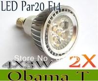 Free shipping 2X Dimmable E14 E27 GU10 MR16 B22 Par20 4X3W 12W 12V AC85-265V High Power Led Light Bulbs LED Lamp Spotlight