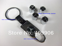 New Top Quality Tire Valves Caps With Car Logo + Key Chain For  Mercedes Benz