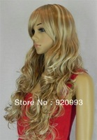 free P&P******* Female Glamorous Gold Long Wave Wig Mannequin Head Hair