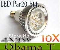 Free shipping 10X Dimmable E14 E27 GU10 MR16 B22 Par20 4X3W 12W 12V AC85-265V High Power Led Light Bulbs LED Lamp Spotlight