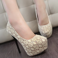 2013vivi high-heeled shoes platform thin heels lace shallow mouth ultra high heels single shoes