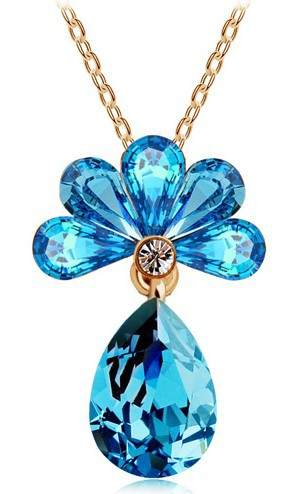 Free Shipping New Arrival Wholesales Price 18K GP Austrian crystal Sakura Flower Charm Necklace fashion jewelry 4535 gold silver(China (Mainland))