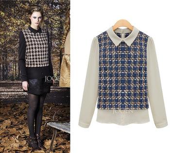 Free Shipping 2013 Women's boutique summer new chiffon plaid shirt bottoming blouses