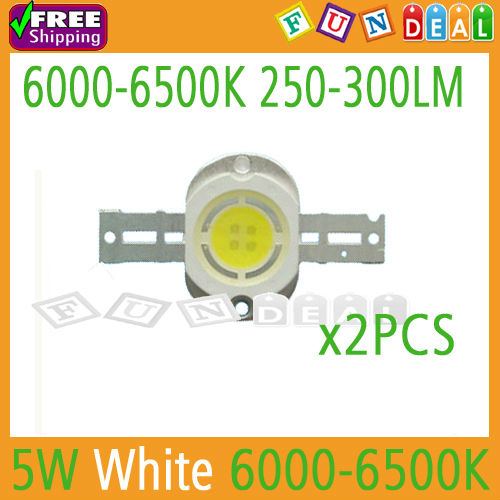 New arrivel! 2PCS 5W Cool White High Power LED Lamp Beads 250-300LM 6000-6500K Round Version for aquarium tank led DIY Wholesale(China (Mainland))