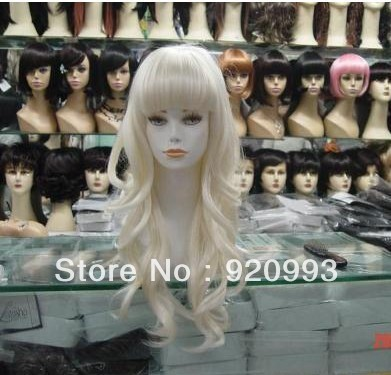free P&P******* Beautiful white long curly women's cosplay wig+hairnet(China (Mainland))