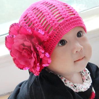 Accidnetal baby hat spring and autumn hat skin-friendly crocheted baby hat cap big flower paillette flower rose cap