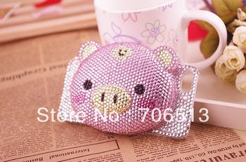 Free Shipping(5pcs/lot) wholesale fashion Leopard 3D Piggy protector rhinestone cellphone case