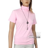 Smarten women's all-match fashion solid color turtleneck t short-sleeve T-shirt 2280c