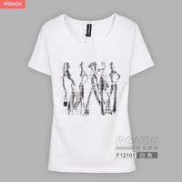 2013 summer women's rhinestones print slim t-shirt female short-sleeve f12101