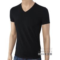 Lycra cotton male short-sleeve slim T-shirt brief solid color all-match V-neck basic 9103 male short-sleeve