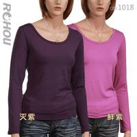 Women's all-match solid color o-neck long-sleeve milk, silk plus velvet thin thermal clothing female basic shirt t-shirt 1018