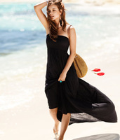 free shipping 2013 new style fashion Women divided elastic tube top full dress black leopard print