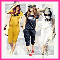 Free shipping 2013 spring and summer set short-sleeve casual capris set 100% letter cotton o-neck loose plus size