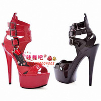 Spicy dance 2013 new stars with selected fashion red sexy sandals 15cm heels wedding shoes