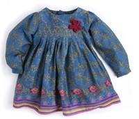 Monsoon female blue small broken child the flowers long-sleeve dress doll dress