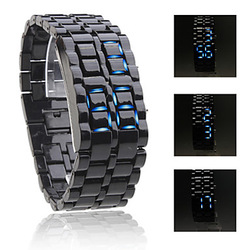 Drop shipping,metal lava casual unisex sport blue light led electronic display watch,fashion gift for couples children love(China (Mainland))