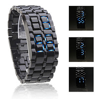 Drop shipping,metal lava casual unisex sport blue light led electronic display watch,fashion gift for couples children love