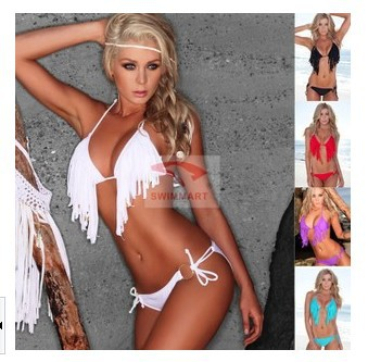 2014 New Trends! Fashion tassel halter-neck beach sexy swimwear swimsuit sexy padded Boho fringe bikini set Q31 Free shipping