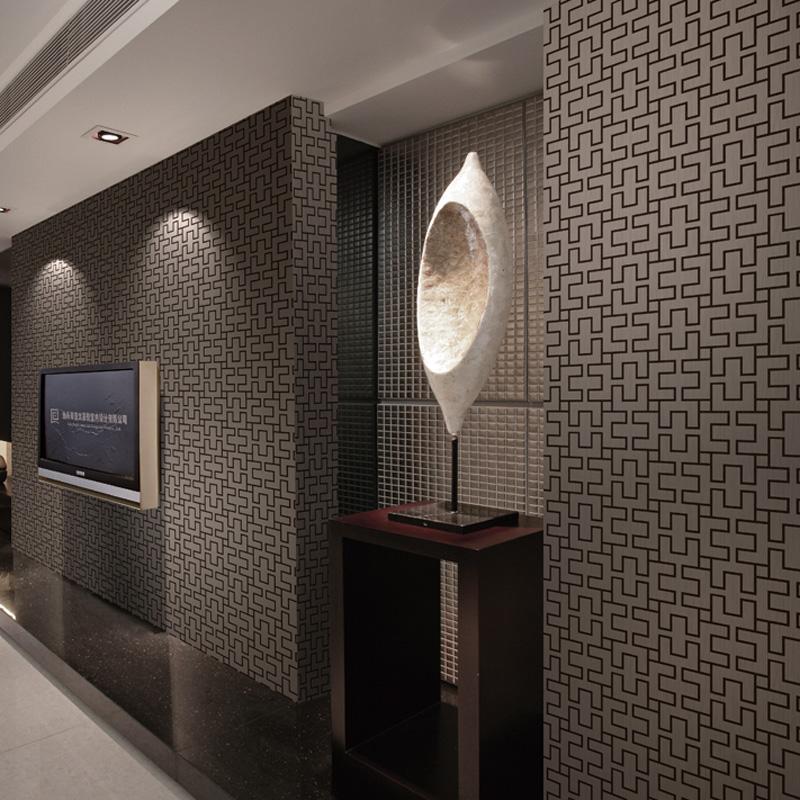 Flower pvc wallpaper modern brief geometry plaid sofa tv