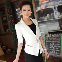 Free shipping summer women's white slim casual blazer female three quarter sleeve leopard print women's blazer