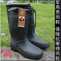 free shipping Male winter thermal boots black plus velvet cotton motorcycle rainboots plus size high slip-resistant rainboots